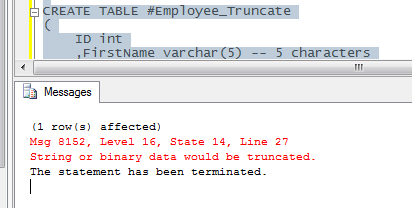 String or Binary data would be truncated error