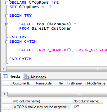 Try Catch Example for Begin Try