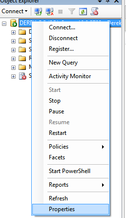 SSMS Context menu for Server Instance