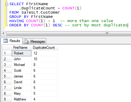 Find Duplicate Fields in a Table