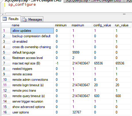 sp_configure results