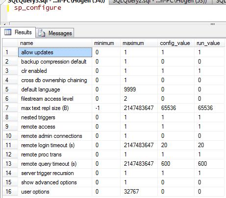 sp_configure results