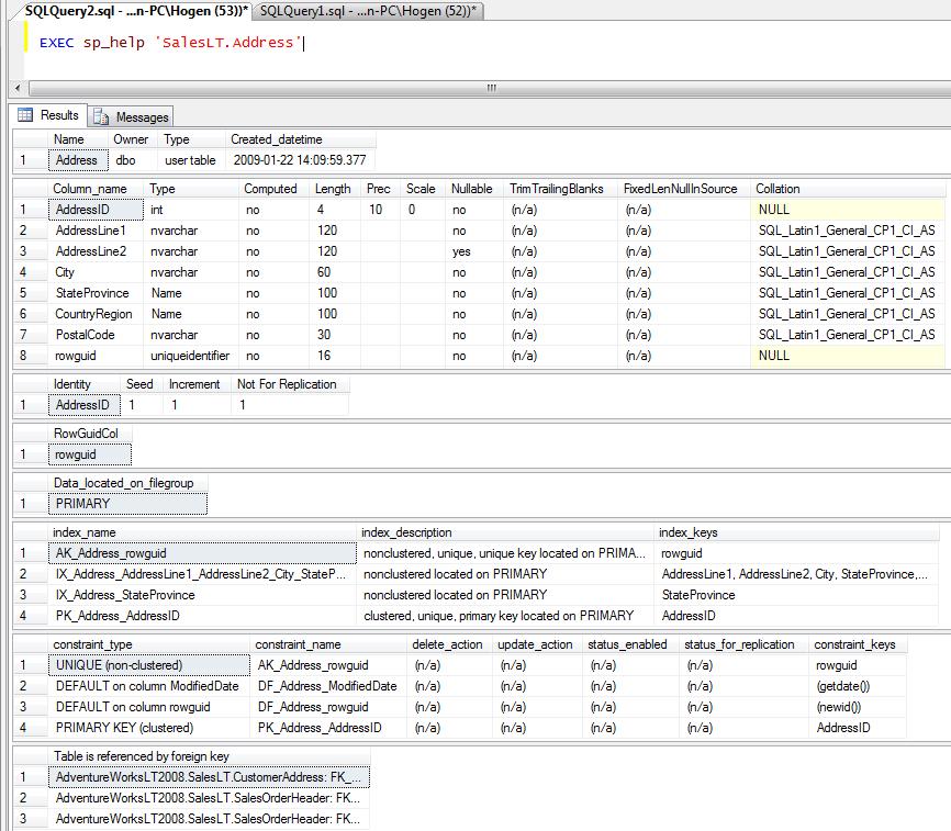 Using sp_help